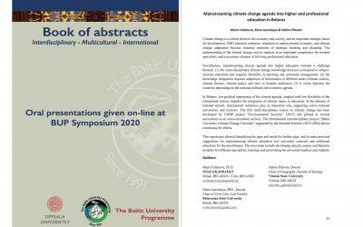Интеграция климатической повестки в программы высшего и профессионального образования в Беларуси. Симпозиум программы Балтийского Университета 2020 (English)